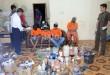 Empat tersangka pemilik pabrik sabu-sabu rumahan beserta barang buktinya ketika gelar kasus di lokasi pabrik sabu-sabu rumahan di Jalan Letjen Jamin Ginting, Gg Bendungan, Medan (27/4). BNN mengamankan enam orang tersangka dari dua tempat berbeda Aceh Tamiang dan Medan beserta barang bukti berupa bahan dasar kimia pembuatan sabu-sabu beserta peralatan pembuatan sabu-sabu. (WOL Photo/Ega Ibra)