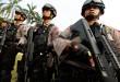 Personel kepolisian mengikuti Apel Operasi Mantap Praja 2015 di Lapangan Merdeka Medan, Rabu (26/8). Sebanyak 12.149 personel TNI dan Polri akan diterjunkan untuk pengamanan Pilkada 9 Desember. (WOL Photo/Ega Ibra)