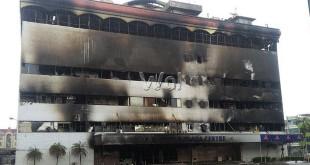 Puing-puing sisa kebakaran Medan Plaza beberapa waktu lalu (WOL Photo/Gacok)