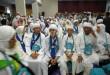 Jamaah haji koter 03 saat tiba di Asrama Haji Medan, Kamis (1/10). Sebanyak 382 orang jamaah haji asal Medan dan Toba Samosir tiba usai menjalankan ibadah haji. (WOL Photo/Ega Ibra)