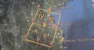 Peta Pencarian Pesawat Aviastar Yang di rilis Basarnas (foto: kompas.com)