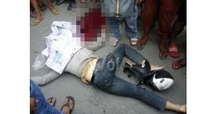 Antoni (21) pengendara Honda Vario tewas di tempat dengan mengenaskan. (WOL Photo/gacok)