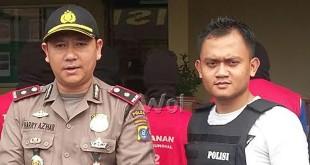 Kapolsek Medan Sunggal Kompol Harry Azhar Hasry SH,SIK,MH dan Kanit Reskrim Iptu Nur Istiono SIK,SH (WOL Photo/Gacok)