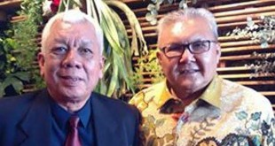 Ketua Komite Percepatan Pemekaran Provinsi (KP3) ALABAS, Armen Deski bersama salah seorang koleganya, dalam sebuah pertemuan di Hotel JW Marriot, Medan, Sabtu (12/3). (Istimewa)