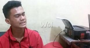 Korban Taufik Hidayat, usai membuat laporan pengaduan di SPKT Polsek Medan Sunggal. (WOL Photo/Gacok)