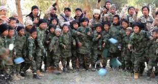 latihan senjata oleh anak-anak Indonesia dan Malaysia di Suriah