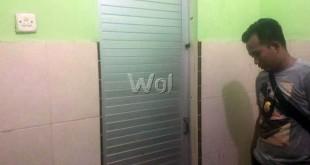 Pelaku masih diamankan di dalam kamar mandi Kampus UMSU, Jalan Mukhtar Basri Medan. (WOL Photo/Lihaves)