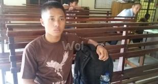 Andrian Prayogi warga Labusel dirampok empat pelaku senjata gunting di terminal liar Pinang Baris Medan.(WOL. Photo/gacok)