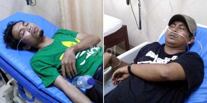 Dua wartawan, Array Argus dan Andri Safrin dianiaya - Oknum TNI AU dan Paskhas Lanud Suwondo Medan.(WOL Photo)