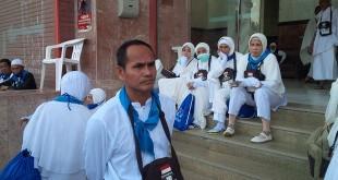 Para jamaah haji asal Banjarmasin. (Foto: Mohammad Saifulloh/Okezone)
