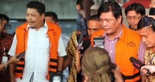 dua dari lima tersangka yang masa penahan diperpanjang oleh KPK  (kiri Bustami,kanan Budi nadapdap). (Foto : Ist)