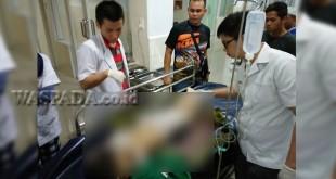 Korban Melinda (8) kritis kini tengah menjalani perawatan di RS Bhayangkara Polda Sumut Jalan KH Wahid Hasyim Medan.(WOL. Photo/gacok)