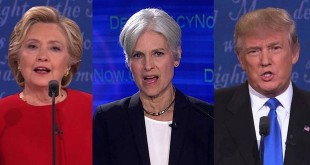 Jill Stein di antara Hillary Clinton dan Donald Trump. (Foto: Democracy Now)