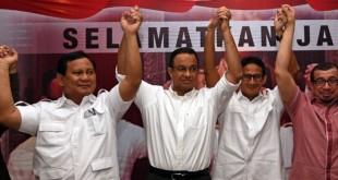Ketua Umum Partai Gerindra dan pasangan Cagub-Cawagub DKI Anies-Sandi. (Foto Antara)