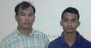 Penyidik pembantu Reskrim Polsek Medan Sunggal giring tersangka kasus narkoba.(WOL. Photo/gacok)