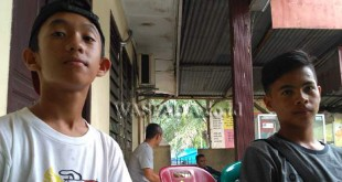 Dua anak Porsea yang terlantar di Polsek Medan Kota. WOL Photo