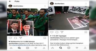 Mahasiswa siram darah foto Jokowi dan JK. (Instagram/doniherdaru)