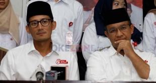Pasangan calon gubernur dan wakil gubernur DKI Jakarta, Anies Baswedan-Sandiaga Uno.