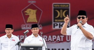 Ketua Umum Partai Gerindra Prabowo Subianto berkampanye untuk Anies-Sandi. Agung Rajasa/Antara