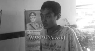 Sopir truk, diamankan petugas Lantas Pos Diski, Polsek Medan Sunggal. (WOL. Photo/gacok)