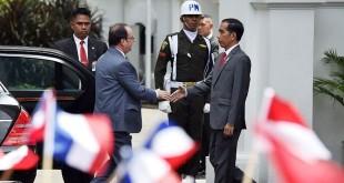 Presiden Prancis Francois Gerard Georges Nicolas Hollande saat melawat ke Istana Merdeka, Jakarta (Foto: Antara)