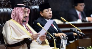 Raja Arab Saudi Salman bin Abdulaziz al Saud berpidato di Gedung DPR (Foto: Wahyu Putro A/ANTARA)