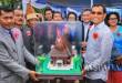 Bupati Simalungun JR Saragih menghadiri acara peresmian pembangunan GKPS Exaudi Gurilla Nagori Bah Sorma, Kecamatan Sitalasari, Pematang Siantar, Sumatera Utara, Minggu (28/5). WOL Photo