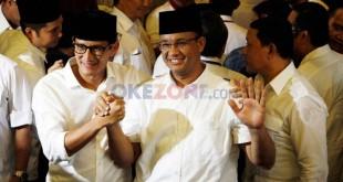 Pasangan gubernur dan wakil gubernur DKI Jakarta terpilih, Anies Baswedan-Sandiaga Uno (Dok Okezone)