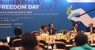 Lokakarya media Hari Kebebasan Pers Dunia di JCC Jakarta (Antara)