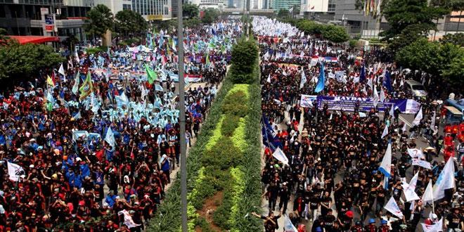 Ilustrasi demo buruh (Foto: Heru Haryono/Okezone)