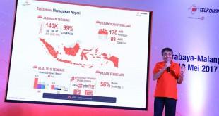 Direktur Network Telkomsel Bob Apriawan, saat pemaparan hasil uji jaringan Telkomsel 2017, di Malang. (foto: ist)