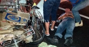 Sabar Sinaga nyaris tewas ditabrak mobil di Jalan Merak, Kelurahan Sei Sikambing D, Kecamatan Medan Sunggal.(WOL Photo/Gacok)