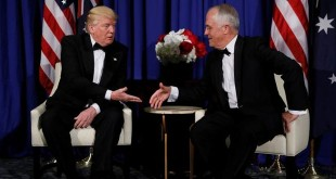 Presiden AS, Donald Trump dan Perdana Menteri Australia, Marcolm Turnbull. (Foto: Reuters)