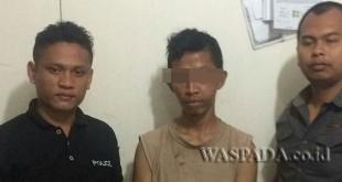 Petugas Reskrim Polsek Medan Sunggal amankan maling rumah. (WOL. Photo/Gacok)
