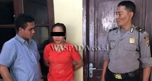 Petugas Polsek Medan Sunggal saat menginterogasi tersangka wanita asal Kalimantan Timur yang terjaring kasus peredaran narkoba. (WOL Photo/Gacok)