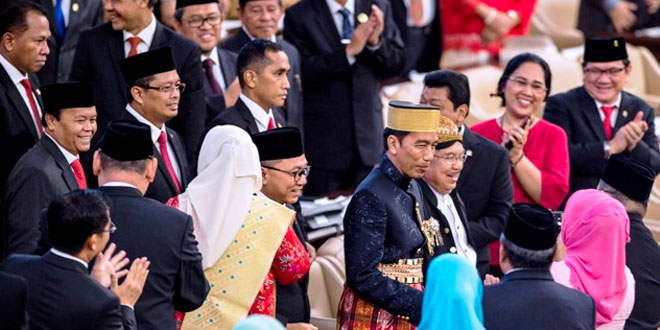 Presiden Jokowi dan Wapres JK di sidang tahunan MPR. (Foto: Antara)
