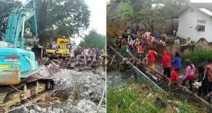 Proses penghancuran Jembatan Gertak Jalan Titi Pahlawan kecamatan Medan Marelan. (WOL Photo/M Rizki)
