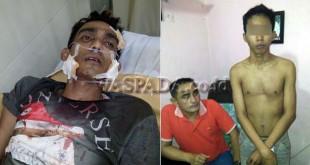 Tersangka Daniel Siregar (kanan), dan korbannya dalam kondisi terluka. (WOL Photo)