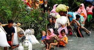 Pengungsi Rohingya berjalan melalui air setelah menyebrangi perbatasan menggunakan perahu di Sungai Naf, Teknaf, Bangladesh, Kamis (7/9/2017). (REUTERS/Mohammad Ponir Hossain)