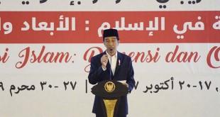 Presiden Jokowi saat menutup Konferensi International Alumni Al Azhar di Mataram (Antara)