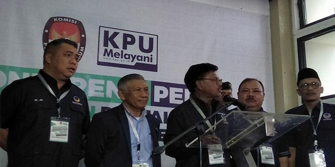 Partai Nasdem daftar ke KPU RI untuk ikut Pemilu 2019. (Foto: Fadel Prayoga/Okezone)