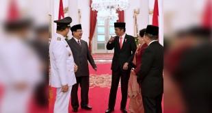 Jokowi, Prabowo, Iriana dan JK dalam pelantikan Anies-Sandi ©2017 Biro Pers Istana