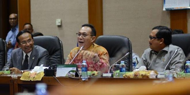 Gus Irawan Pasaribu (tengah) saat memimpin rapat Komisi VII membahas Freeport di gedung DPR RI Jakarta. (WOL Photo/Ist)