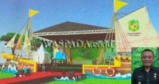 Panggung Gemes 2017 Di Lapangan Merdeka Medan Yang Didesain Menjadi Sebuah Kapal Layar. (inzet: Kadis Pariwisata Kota Medan Drs Agus Suriyono)