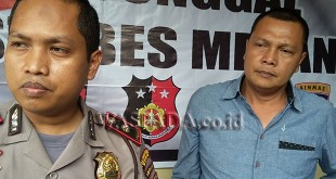 Kapolsek Medan Sunggal, Kompol Wira Prayatna SH, SIK MH, didampingi Kanit Reskrim Iptu Budiman Simanjuntak SE, SH, memanggil pengusaha bus Aceh.(WOL. Photo/Gacok)