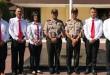 Kapolrebes Medan, Kombes Pol Sandy Nugroho SH SIK MH, diabadikan bersama Kapolsek Medan Sunggal dan personil di Halaman Mako Polrestabes, Medan.(WOL Photo/Gacok)