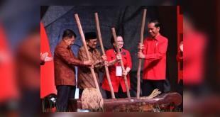 Rakornas 3 Pilar PDIP, Presiden Jokowi, Wapres Jusuf Kalla, Ketum PDIP Megawati Soekarnoputri, dan Presiden ke-3 RI BJ Habibie (Foto: Ant)