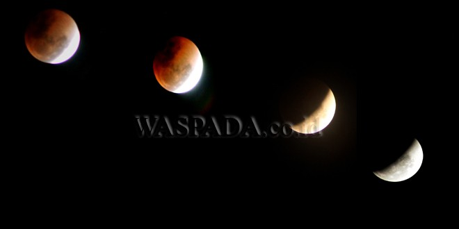 "Foto kolase Gerhana Bulan ""Super Blue Blood Moon"" terlihat dari kawasan Desa Seuneubok, Kabupaten Aceh Utara, Aceh, Rabu (31/1) Malam. Fenomena langka yang terjadi bertepatan saat bulan berada dalam konfigurasi ""supermoon"", ""blood moon"" dan ""blue moon"" ini terjadi sekitar dalam kurun waktu 150 tahun sekali. (WOL Photo/Chairul Sya'ban)"