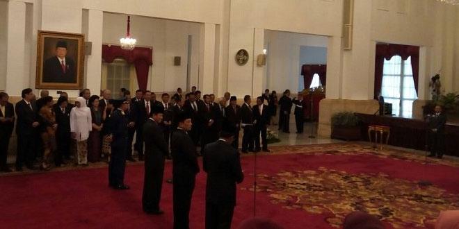Reshuffle kabinet Jokowi di Istana Negara (Foto: Fakhrizal Fakhri/Okezone)
