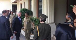 Menhan AS James Mattis saat berkunjung ke Kemenko Polhukam (Harits/Okezone)